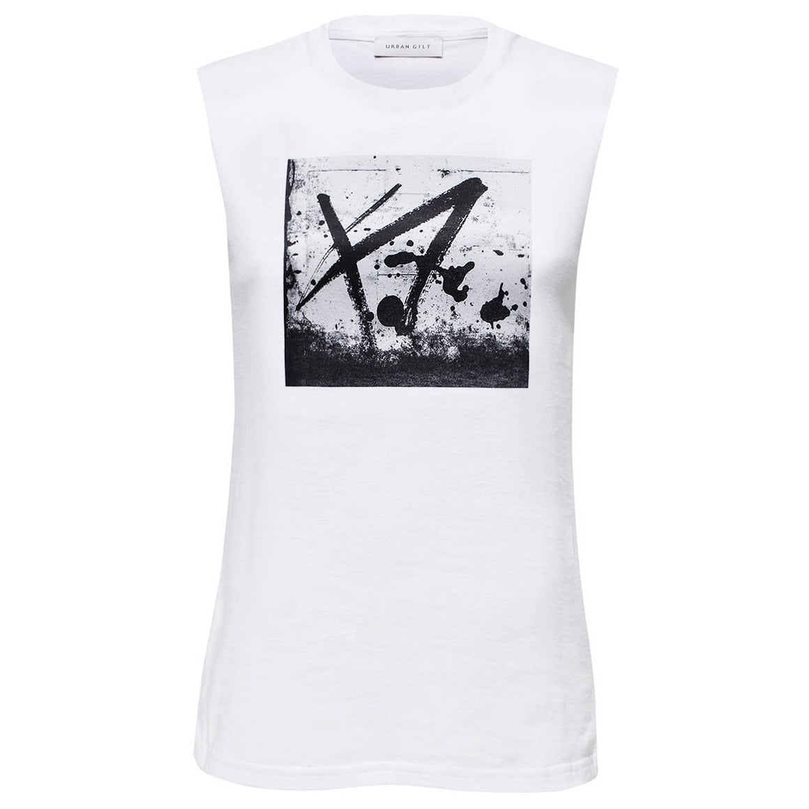 Selby White Graffiti Print Top Front View