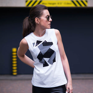 Golborne White Grey Camouflage Abstract Print Top Lifestyle 2