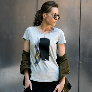 Maltby Grey Abstract Paint Stroke Print T-shirt Lifestyle 1