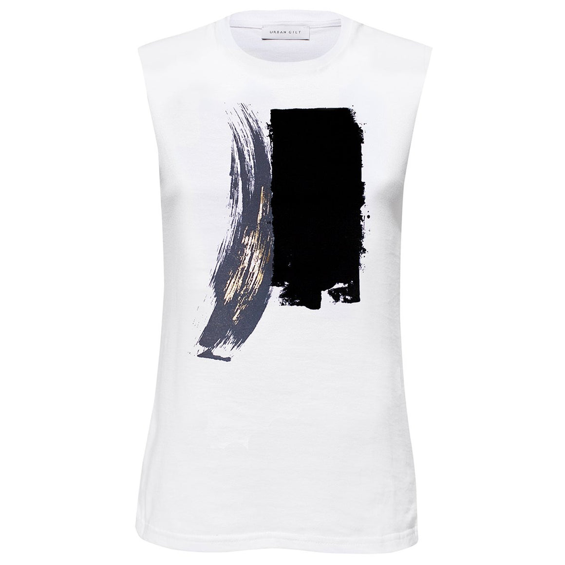 Tanner White Abstract Paint Stroke Print Top Front View