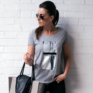Draycott Grey Abstract Squares Print T-shirt Lifestyle 2
