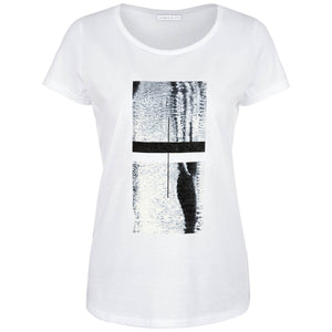 Draycott White Abstract Squares Print T-shirt Front View