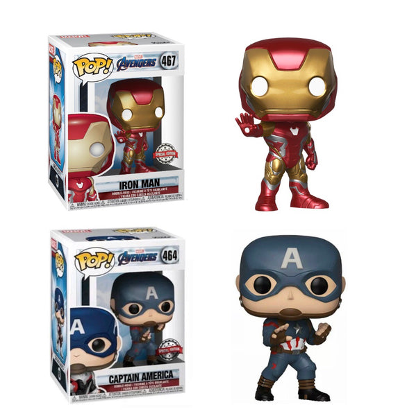Marvel Avengers Endgame 2 Pack Iron Man And Captain America Special Edition Funko Pop Vinyl Figures