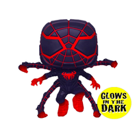 PRE ORDER Marvel SpiderMan Miles Morales in Programmable Matter Suit Jumping Glow in the Dark Funko Pop! Vinyl