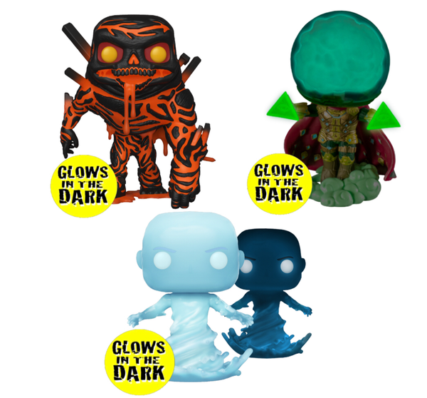 Spider-Man Far From Home Funko Pop Vinyl Set Of 3 Glow In The Dark Special Edition,Molten Man,Mysterio,Hydro Man