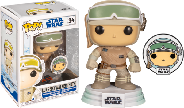 Star Wars Across The Galaxy Luke Skywalker Hoth Funko Pop! Vinyl Figure with with Enamel Pin