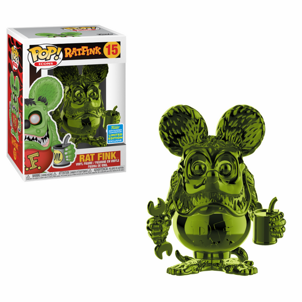 Pop Icons Rat Fink Green Chrome Funko Pop Vinyl Summer Convention Exclusive SDCC