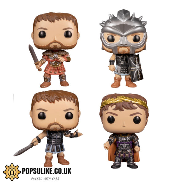 Gladiator Funko Pop Vinyl Complete Set Maximus Armour,Maximus Helmet,Maximus And Commodus