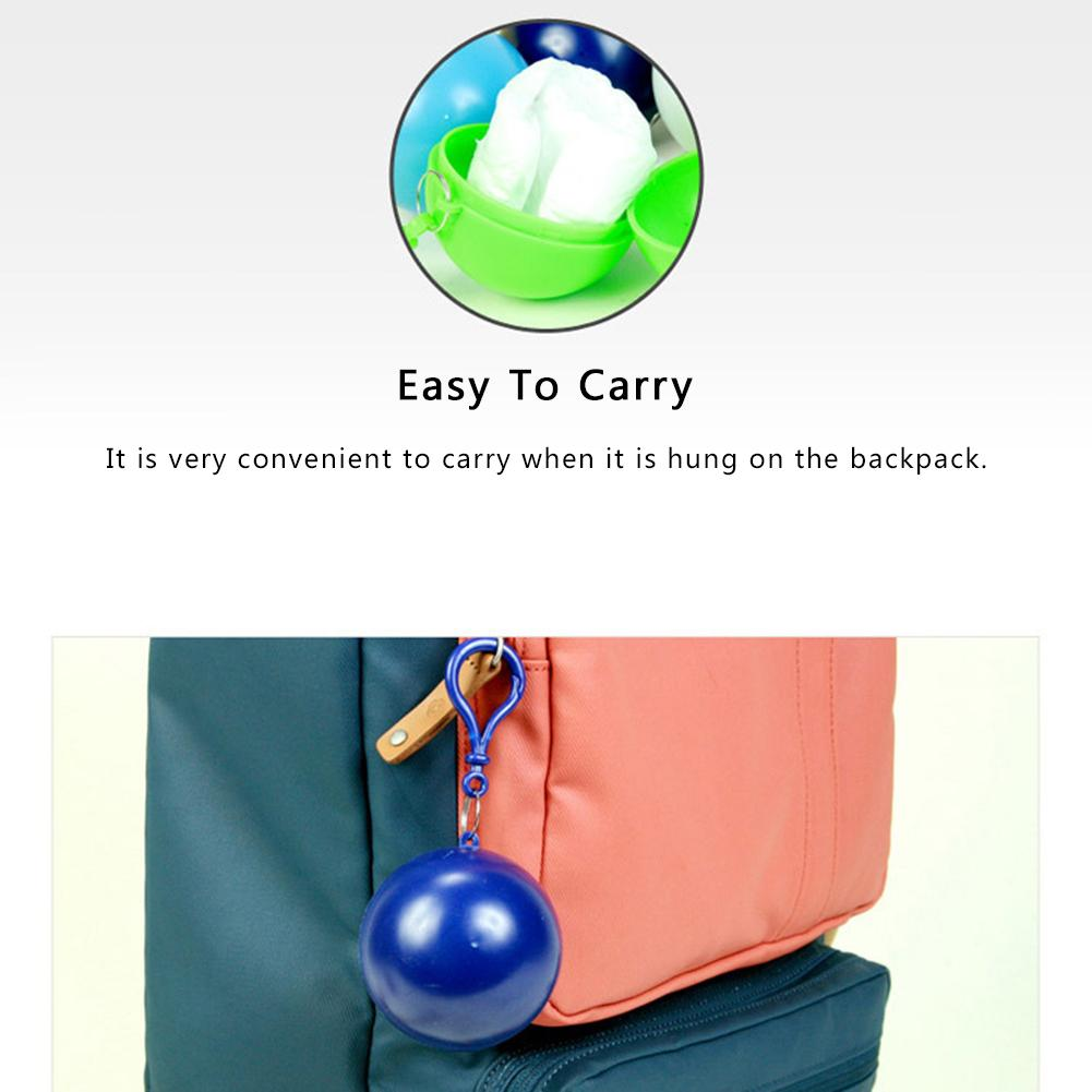 Portable Raincoat With Hooked Ball-Shaped Storage Box