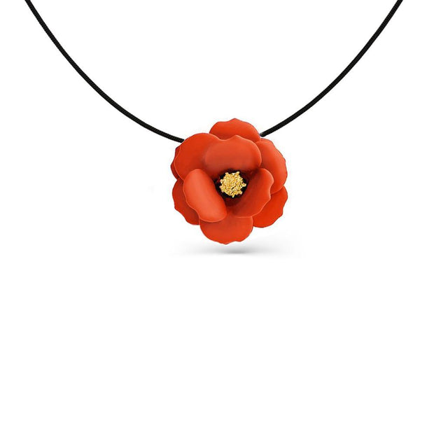 Pastel Coral Flower Pendant Necklace