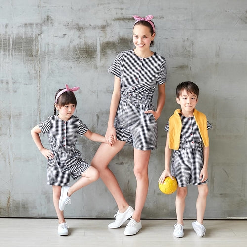 Gingham Romper Mother & Kids Matching Dress - XshopZ