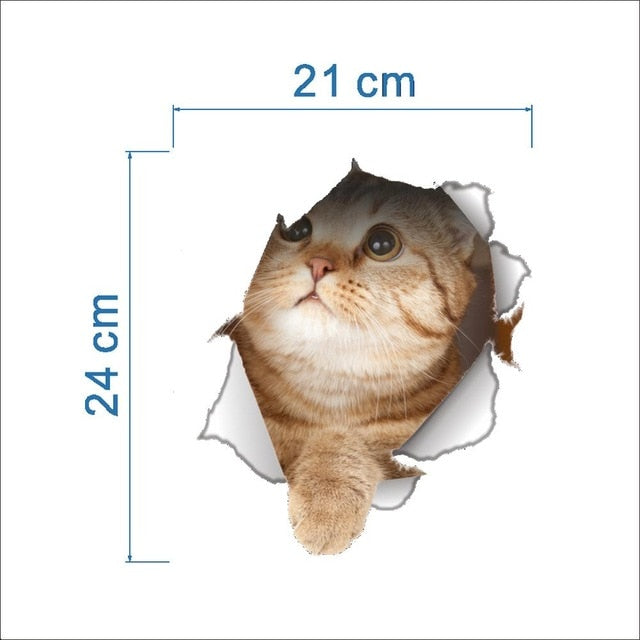 Buy Cats 3D Wall Hole View Sticker for Bathroom Home Accessories - Xshopz