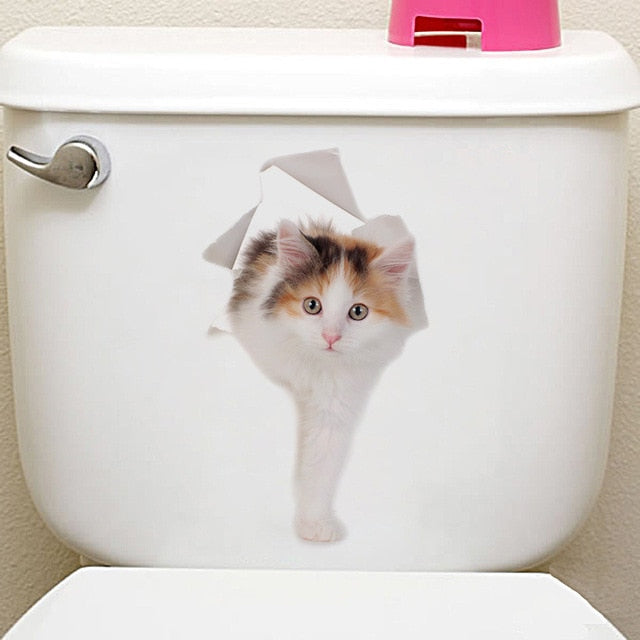 Cats 3D Wall Hole View Sticker for Bathroom - XshopZ