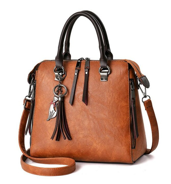Women's Fashion Casual Leather Handbag Zipper Crossbody Bags - XshopZ