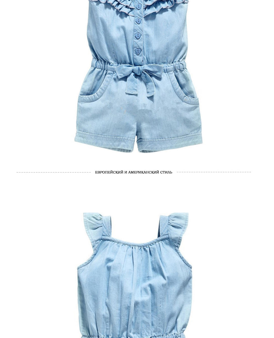 Buy Baby Girl Rompers Denim Blue Cotton Sleeveless Bowknot Jumpsuit Mother & Kids - Xshopz
