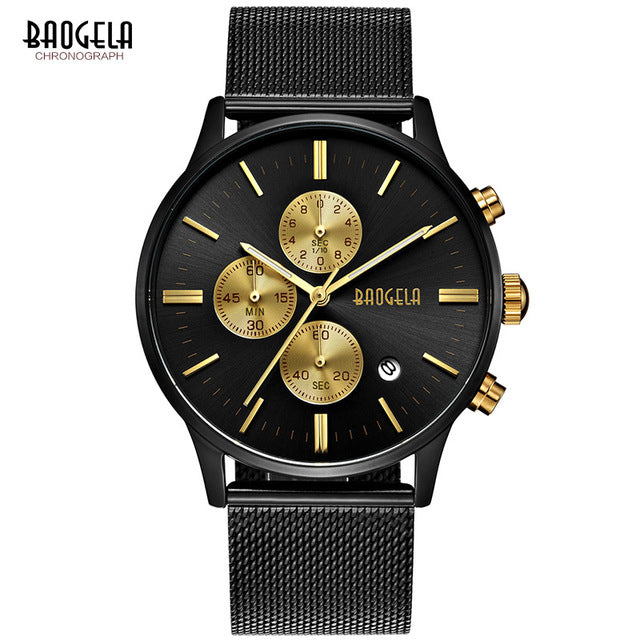Mens Chronograph Black Stainless Steel - Xshopz
