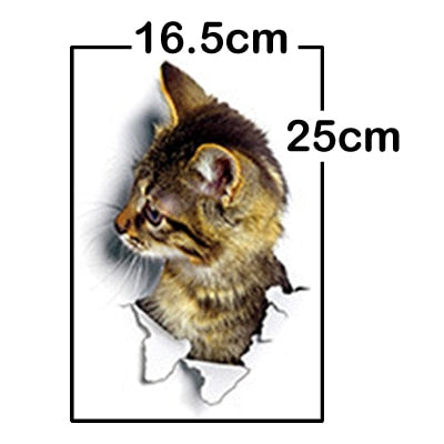 Cat Dog 3D Wall Hole View Sticker - XshopZ