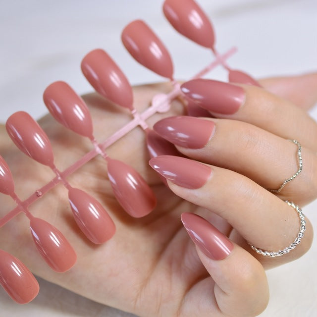 Shiny Nude Nail Tree (24 Pcs) - XshopZ