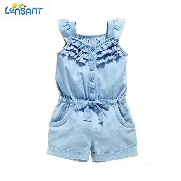 Baby Girl Rompers Denim Blue Cotton Sleeveless Bowknot Jumpsuit - Xshopz