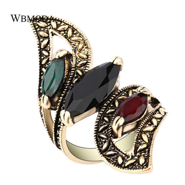 Big Wings Ring Antique Gold Gemini Rings For Women Fashion