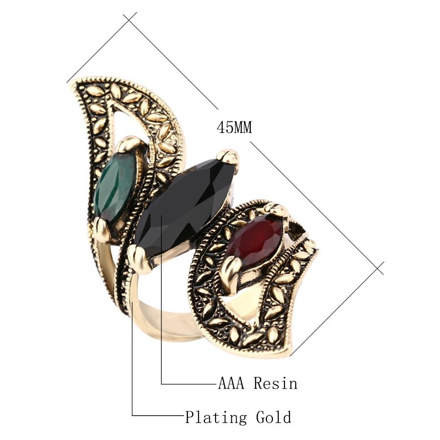 Big Wings Ring Antique Gold Gemini Rings For Women Fashion - XshopZ