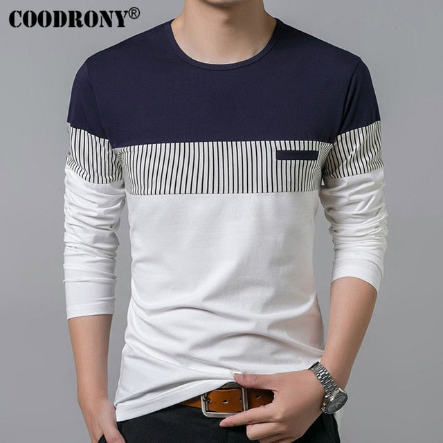 Buy New Long Sleeve O-Neck T Shirt Men Men's Clothing - Xshopz