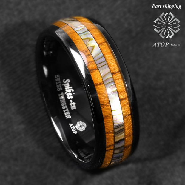 Koa wood and abalone tungsten Fashion ring