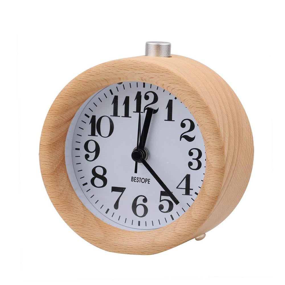 Buy Lovely Wood Classic Round Table Alarm Clocks Home & Garden - Xshopz