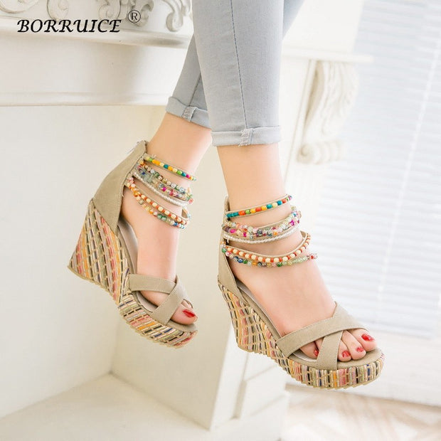 Summer High Heels Women Sandals Bohemian Style Sandals