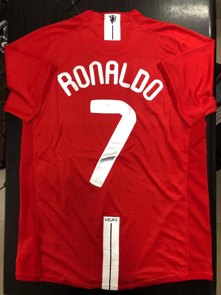 half off beb84 3f451 Manchester United CR7 2007-08 UCL Final Jersey