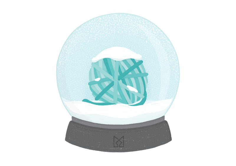 Illustration of a ball of yarn inside of a snow globe