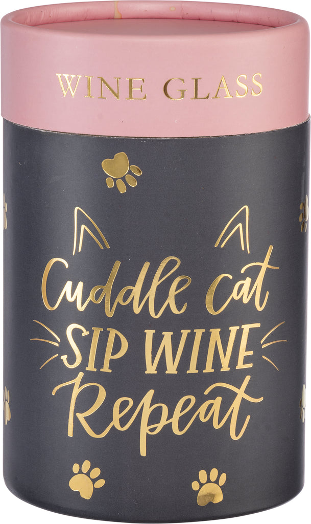 CUDDLE CAT... Stemless Wine Glass