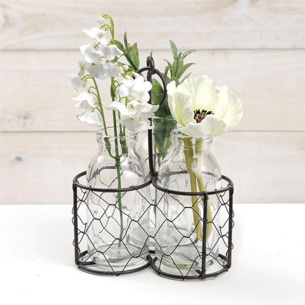 Triple Glass Bottles & Mesh Wire Carrier