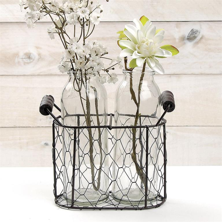 Double Bottle Wire Mesh Basket