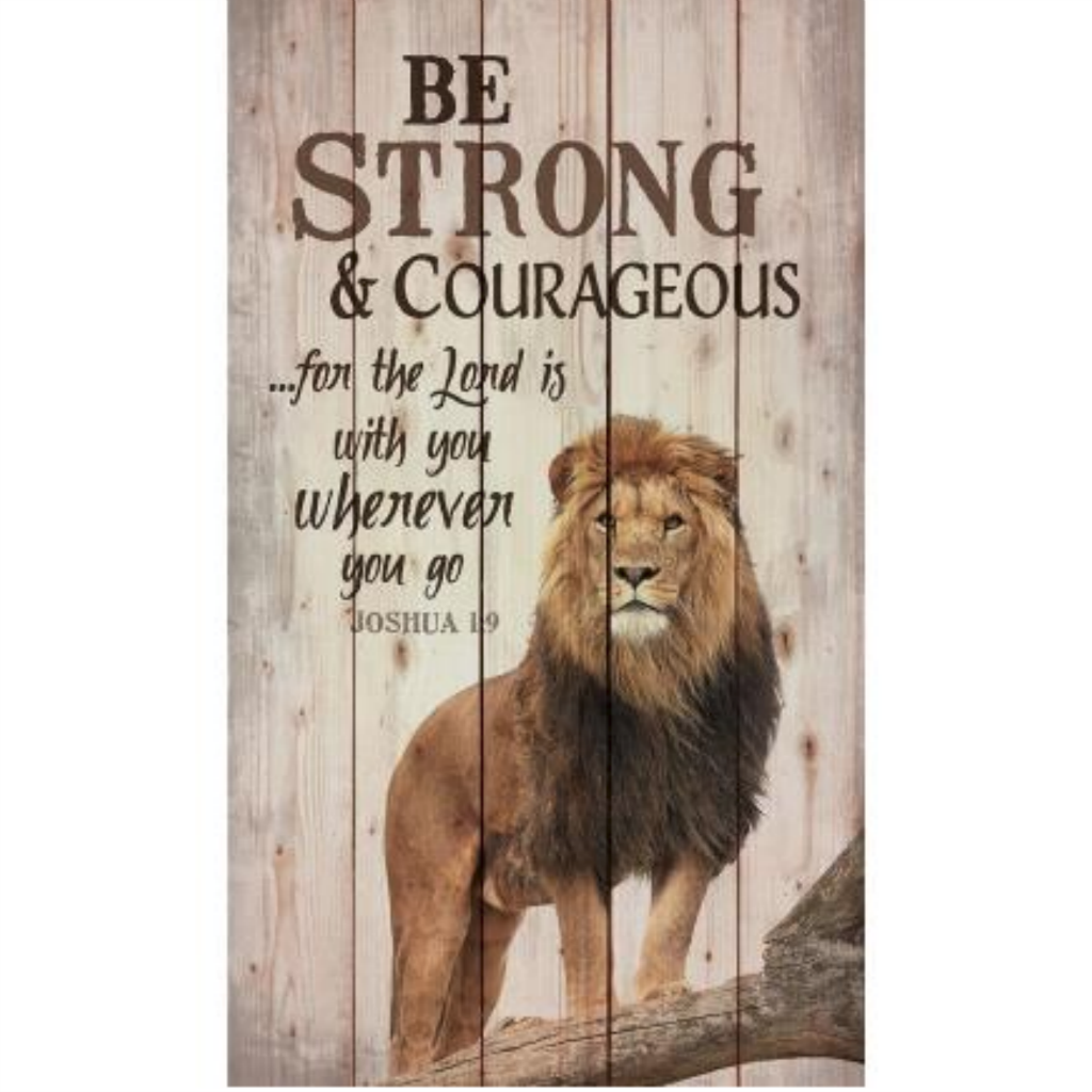 "Be Strong & Courageous (Joshua 1:9) - 14"" x 24"" Pallet Decor"