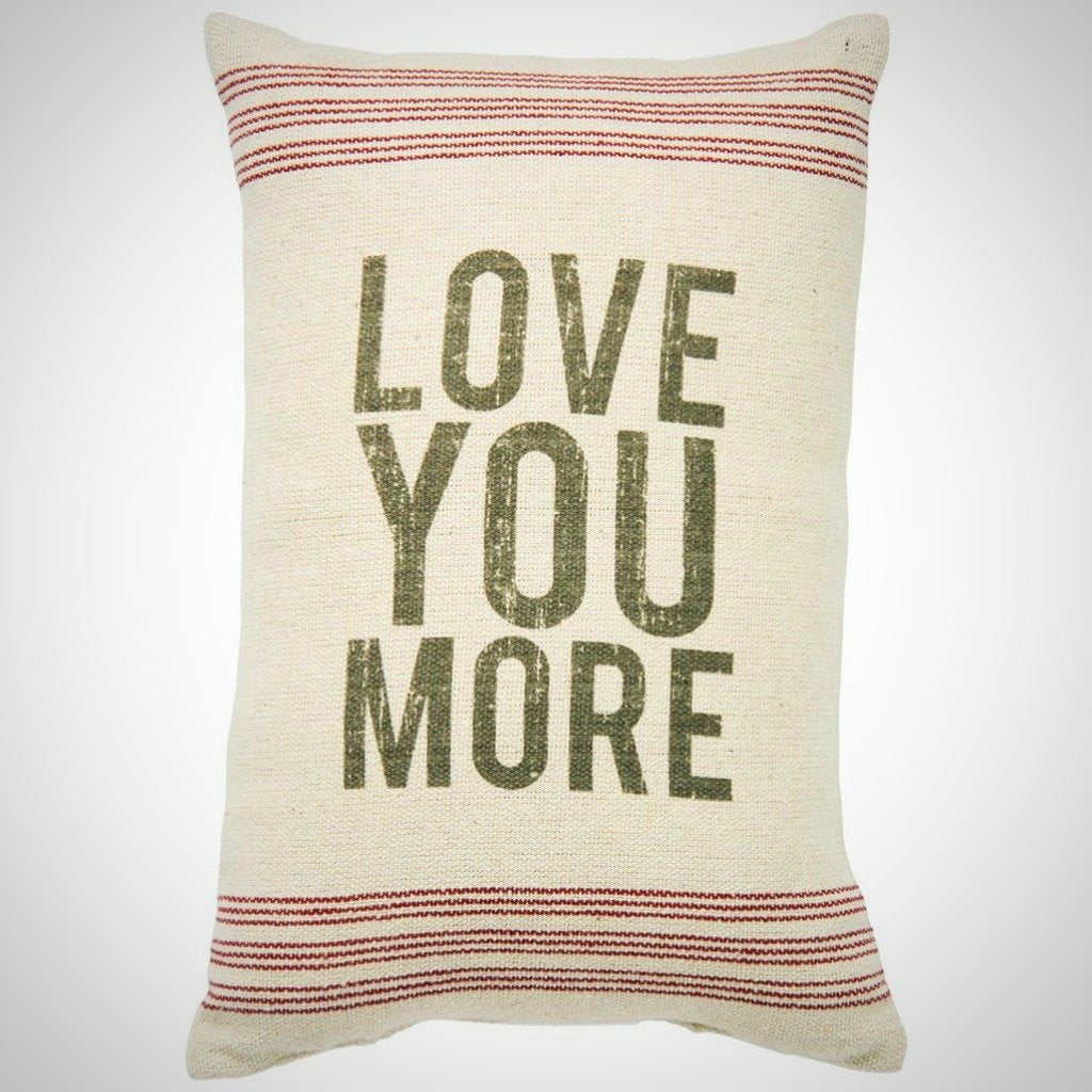 """Love You More"" - 9 Stripe Cream Pillow - 10"" x 15"""