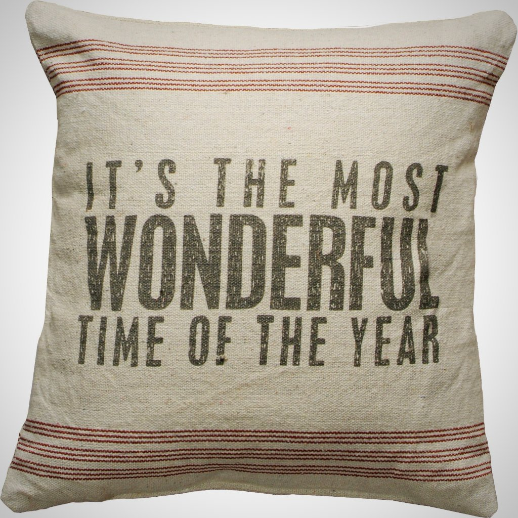 """Most Wonderful Time...Year"" 9 Stripe Pillow - 15"" x 15"""