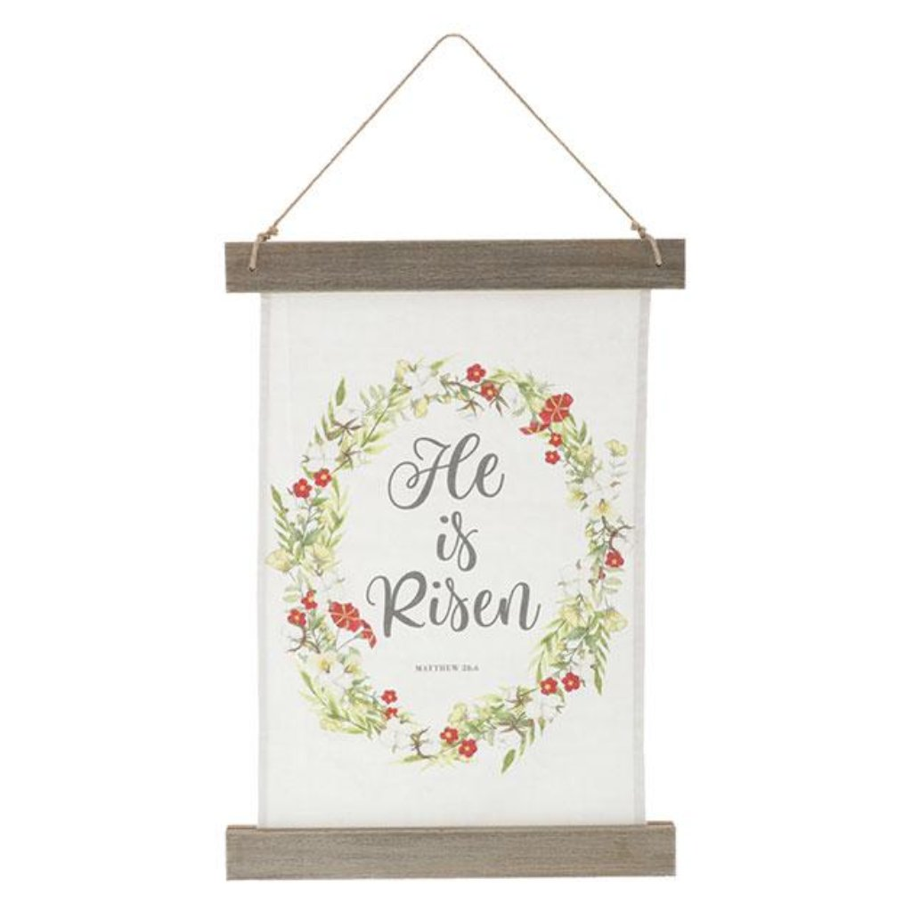 He Is Risen Canvas Banner