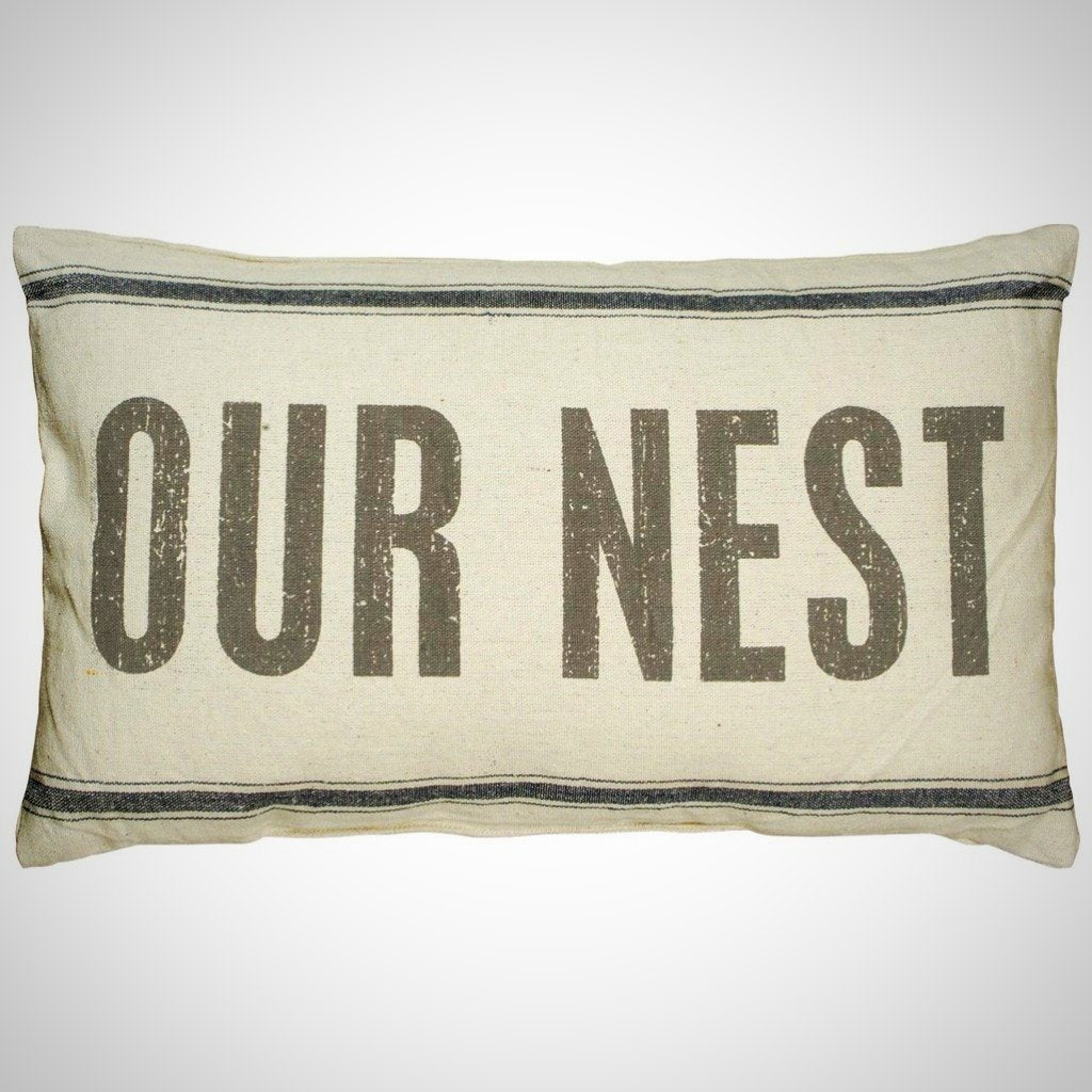 """Our Nest"" - 3 Stripe Cream Pillow - 25"" x 15"""