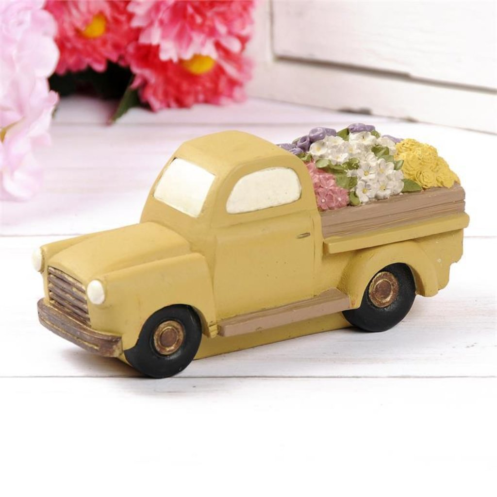Yellow Vintage Flower Truck - Spring Blossoms