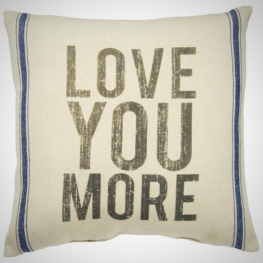 """Love You More"" - 3 Stripe Cream Pillow - 20"" x 20"""