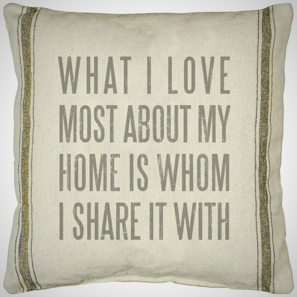 """What I Love..."" - 3 Stripe Cream Pillow - 20"" x 20"""