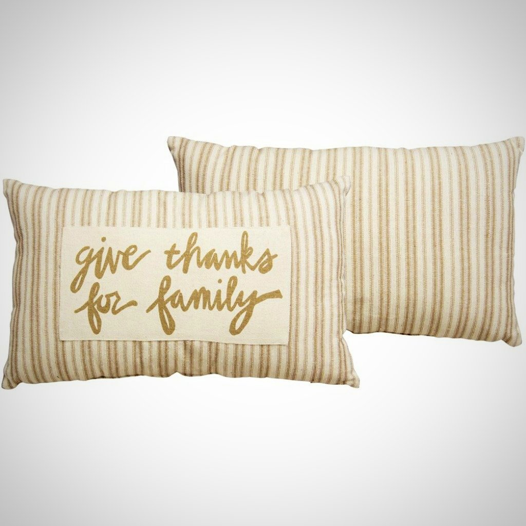 """Give Thanks For Family"" Cream Linen - 25"" x 15"""