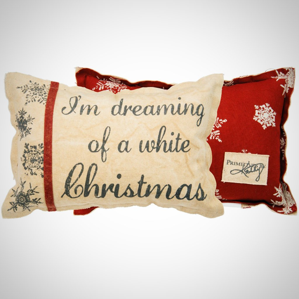"""I'm Dreaming...White Christmas"" Canvas Pillow - 15"" x 10"""