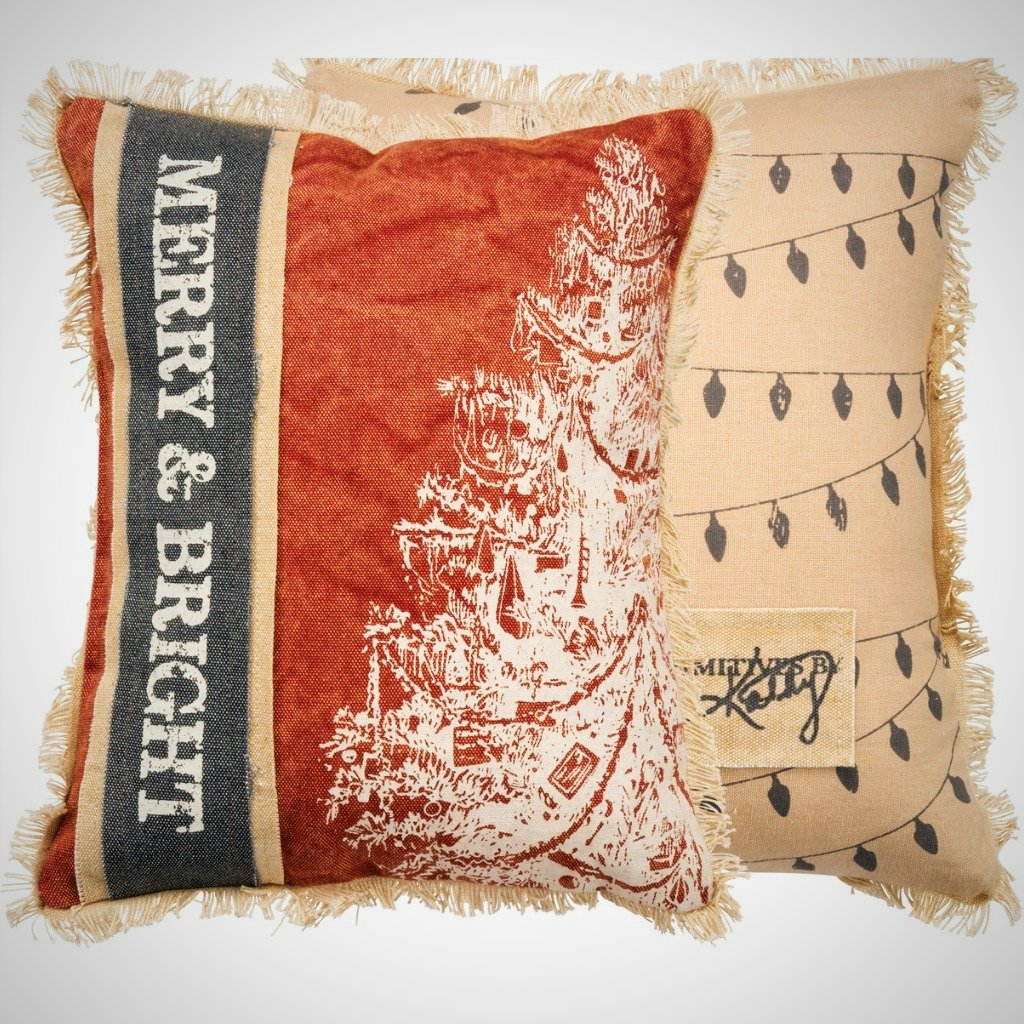 """Merry & Bright"" Canvas Pillow - 10"" x 12"""