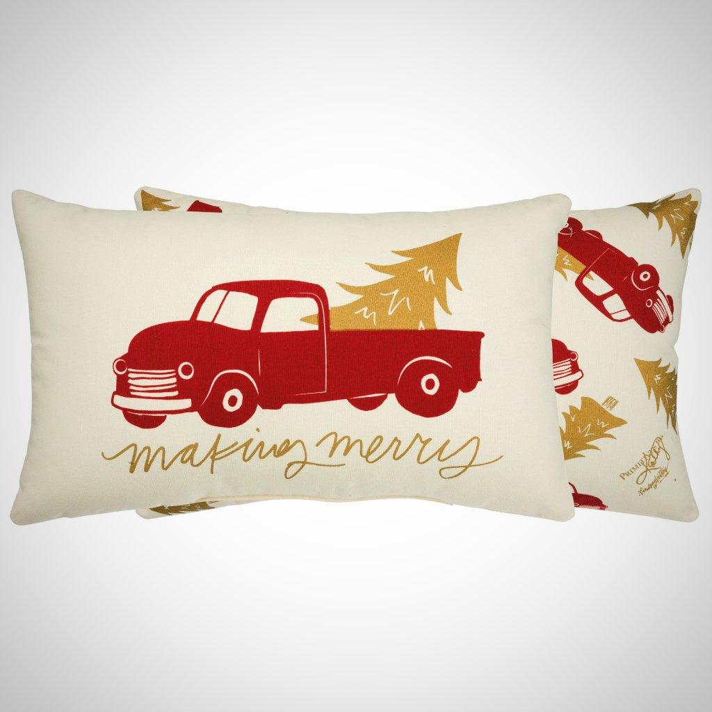 """Making Merry"" Cotton Pillow - 20"" x 12"""