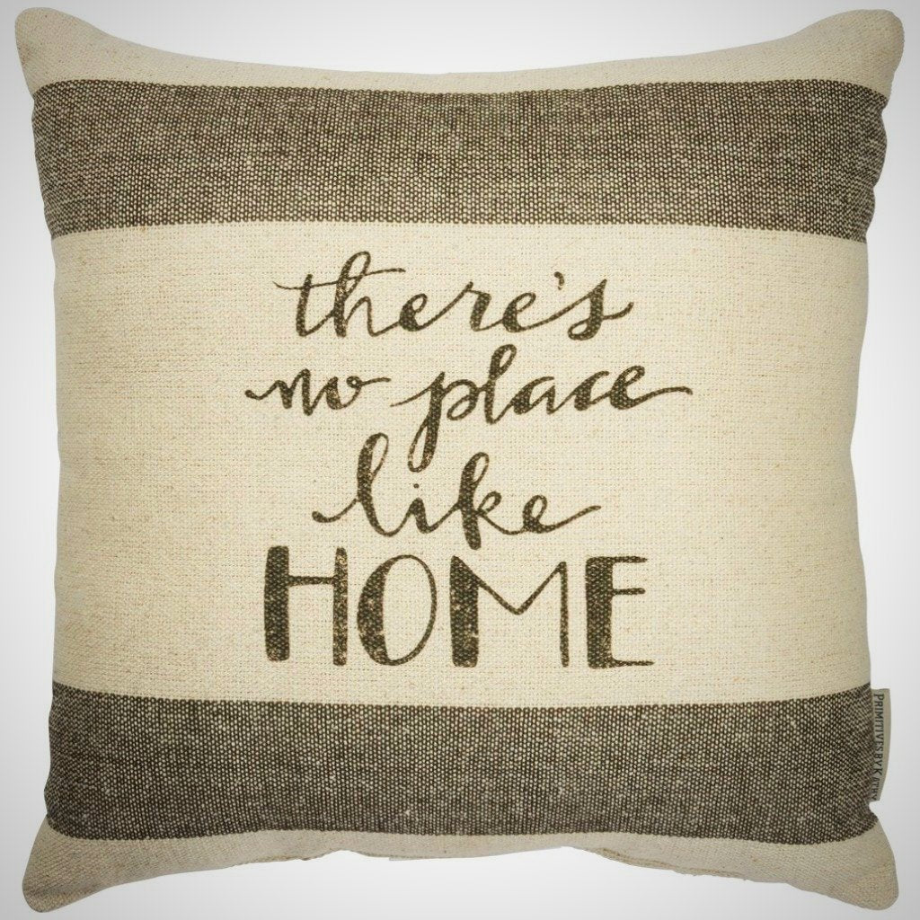 """There's No Place Like Home"" - Cream & Charcoal Pillow - 15"" x 15"""