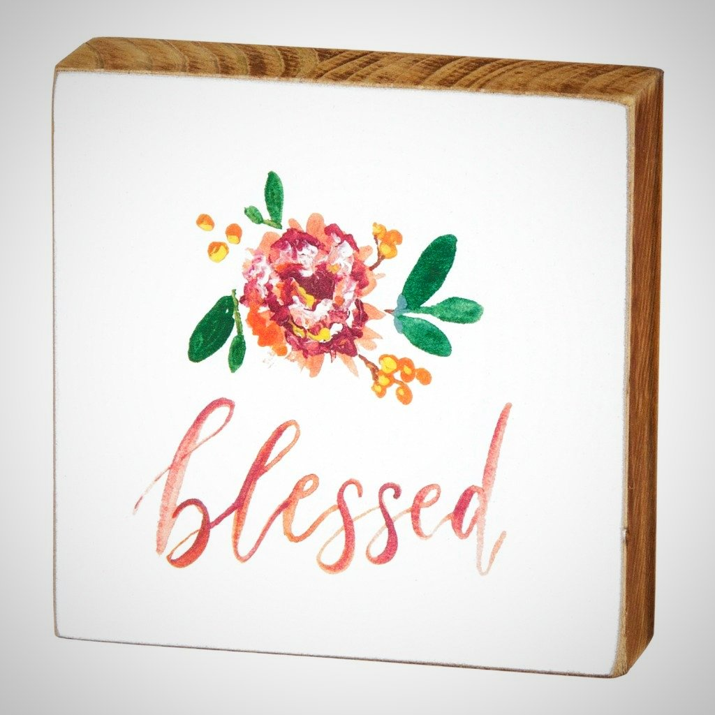 """Blessed"" Watercolor Block - 3.5"" x 3.5"""