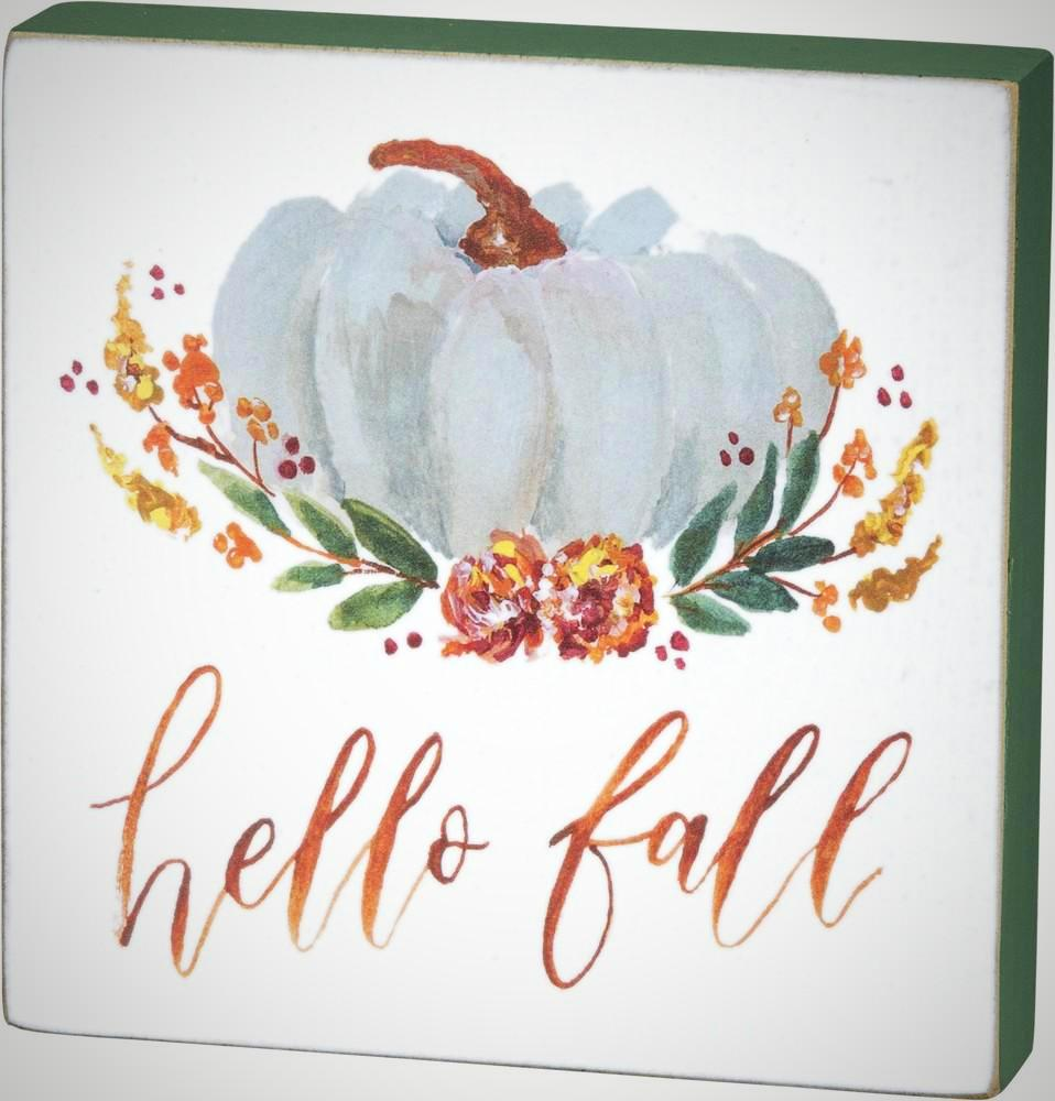 """Hello Fall"" Watercolor Block - 5"" x 5"""