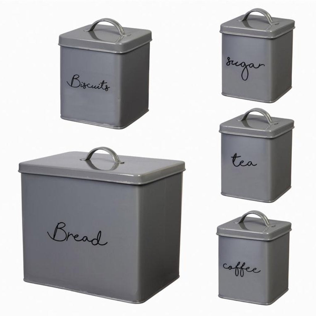 Gray Steel Kitchen Canister Set (5 pieces)